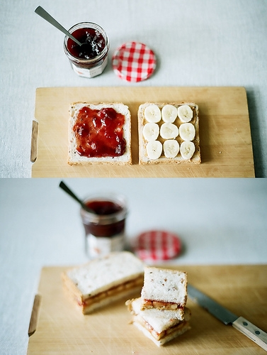 ♥ banana, strawberry jam and peanut butter sandwich